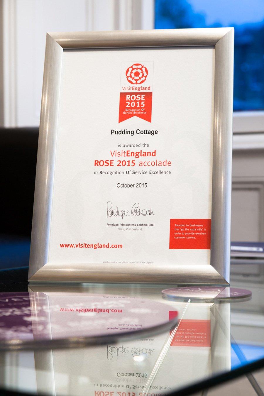 Pudding Cottage is awarded VisitEngland ROSE Award 2015 for excellent service