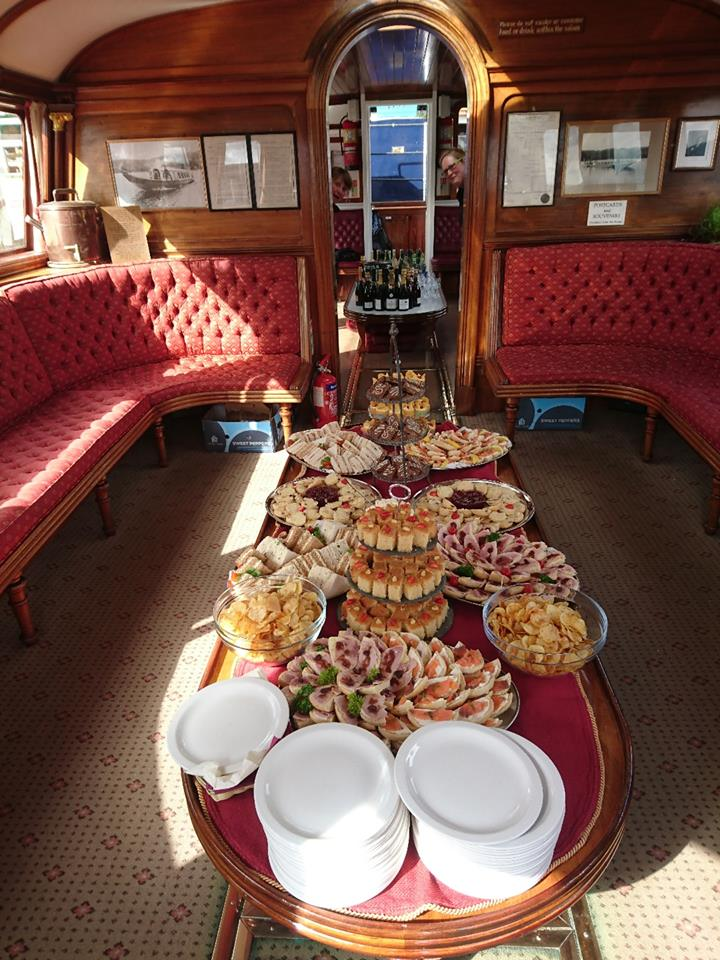 Afternoon Tea fit for a Queen, delivered by Wilf's Cafe aboard the Coniston Goldola