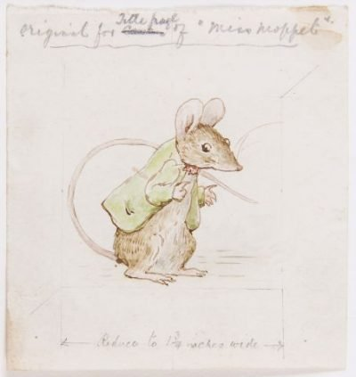 Dreweatts and Bloomsbury Auctions is hosting a Beatrix Potter collection auction on the 150th anniversary of the author's birthday on July 28. Pictured is Beatrix Potter's original watercolour design for the mouse in The Story of Miss Moppet, with autograph instructions by Potter in pencil indicating how it was to be reduced in size for the Circa 1906.