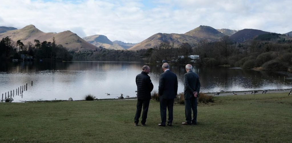 HRH Prince of Wales looking over Derwentwater at the unveiling of plaque marking LAke District World Heritage Status