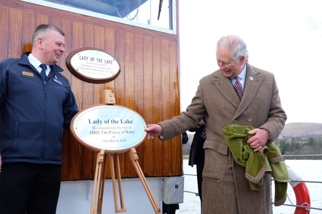 HRH Prince of Wales reveals plaque at Ullswater Steamers marking UNESCO World Heritage