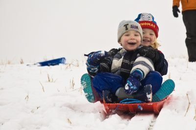 Children sledging at Shap